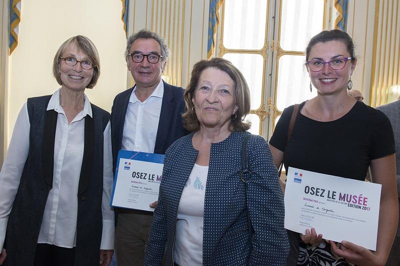 Mme la ministre, Françoise NYSSEN, Pierre JARLIER, Mireille VICARD, Laetitia THEROND.