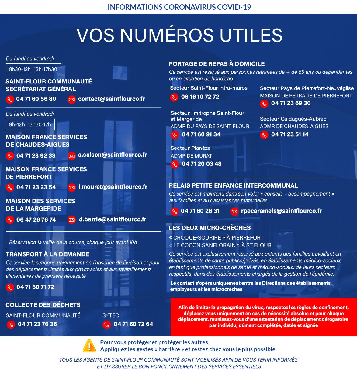 corona virus numéros utiles services saint-flour communauté