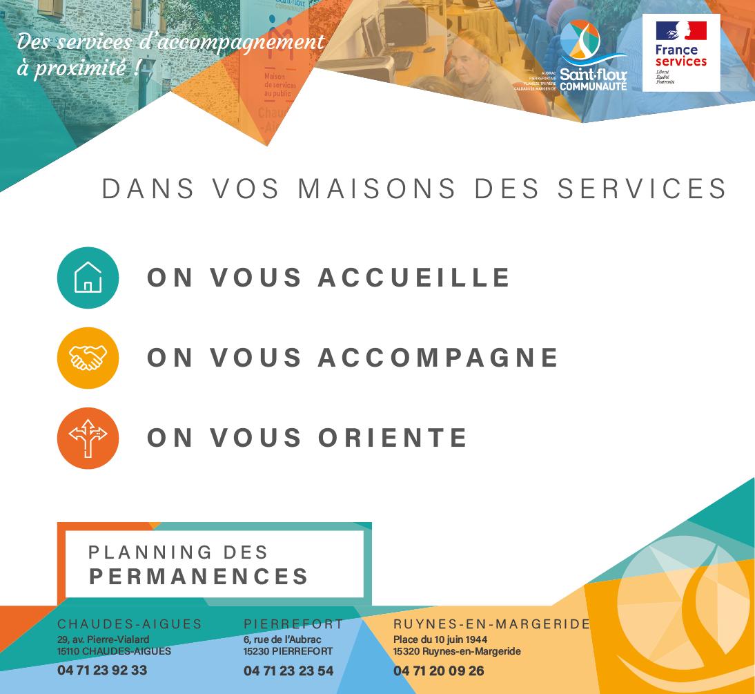 planning permanences maisons des services Saint-Flour Communauté