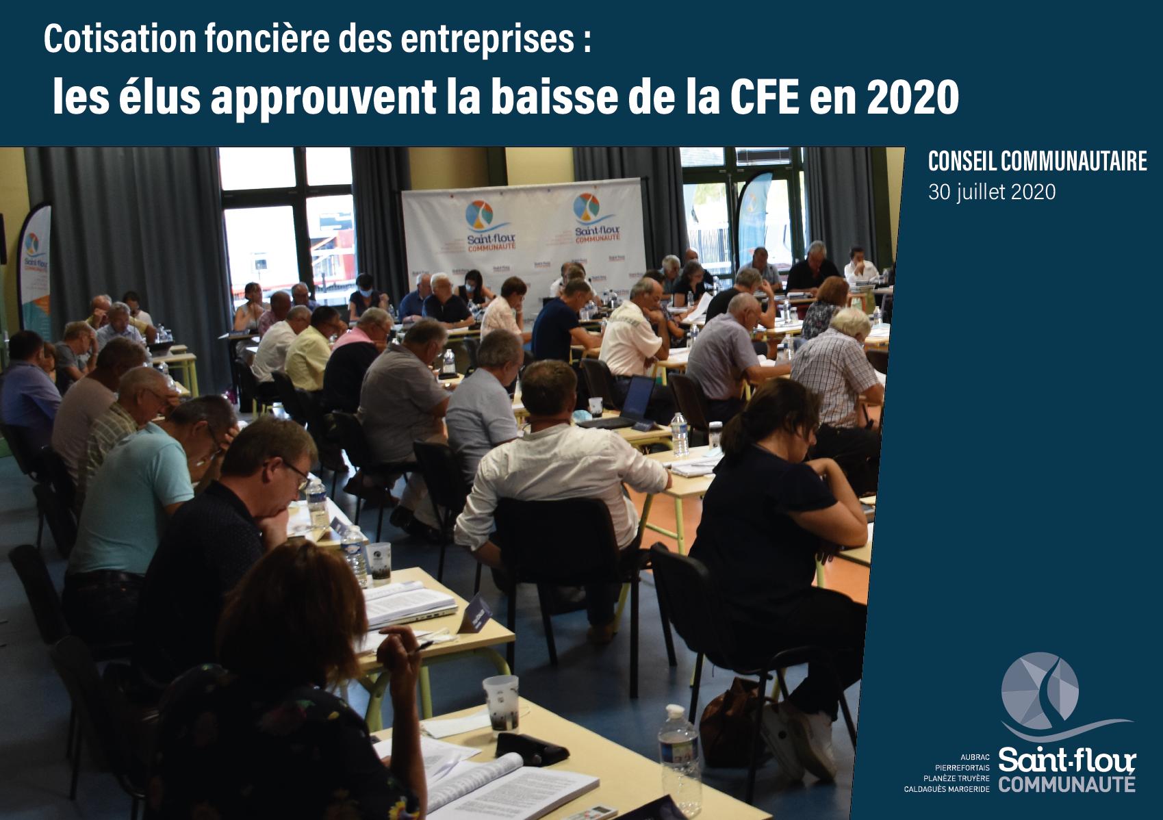 Dégrèvement cotisation foncière entreprises juillet 2020 Saint-Flour Communauté