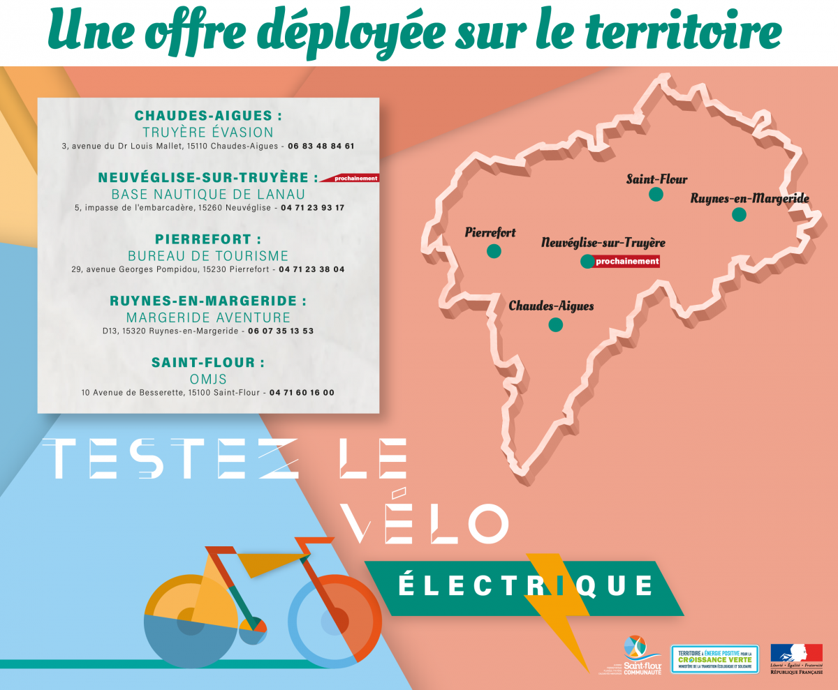 Cartographie carte déploiement offre de location saint-flour communauté vélos à assistance électrique